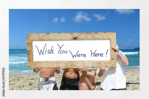 Beach Vacation Advertising Scene Canvas Print