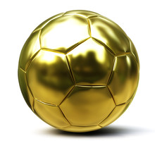 Golden Soccer Ball Isolated On...