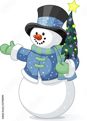 Snowman with Christmas tree Poster