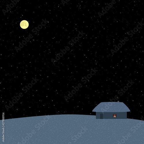Poster Pleine lune Winter starry night