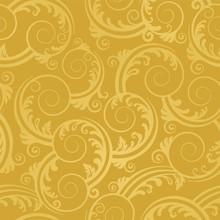 Seamless Golden Swirls And Lea...
