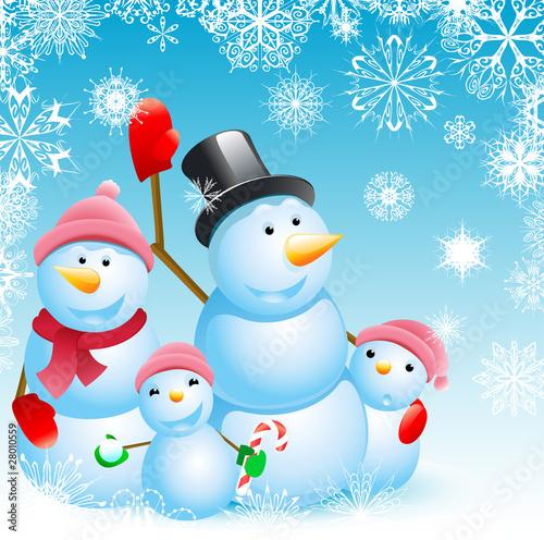 Poster Vogels, bijen family of snowman christmas background