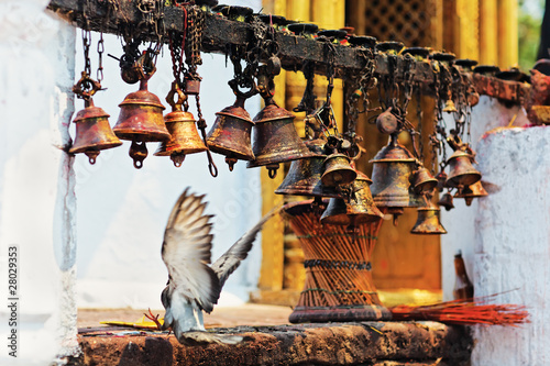 Wall Murals Nepal Many metal sacrificial bells hanging on chain and landing dove,