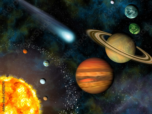 Fototapeta 3D Solar System Wallpaper contains the Sun and nine planets.