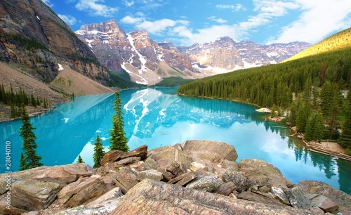 Montage in der Fensternische Kanada moraine lake