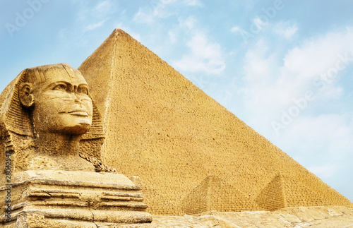 Foto op Aluminium Egypte Sphinx and The Pyramid