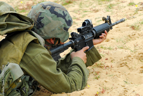 Fotografia  M16 Israel Army Rifle Soldier