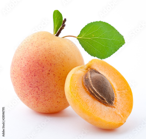 Fotografiet Apricot on a white background
