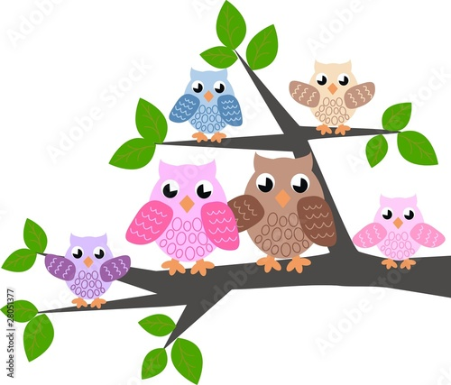Poster Oiseaux, Abeilles owl family