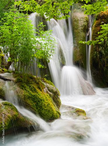 Wall Murals Waterfalls Waterfall currents in national park. Plitvice, Croatia.