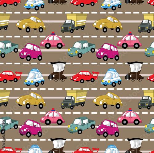 Poster de jardin Route seamless car pattern