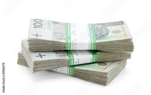 Pinturas sobre lienzo  Stack of polish zloty with clipping path