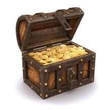 3d Treasure Chest Full Of Gold