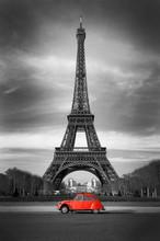 Tour Eiffel Et Voiture Rouge- ...