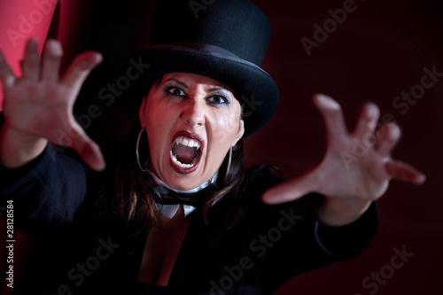 Vampire woman in top hat Canvas Print