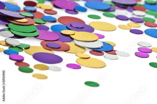 Fototapeta Colored confetti. White background obraz na płótnie