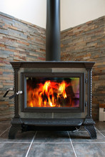 Wood Stove Burning Fiery Hot F...