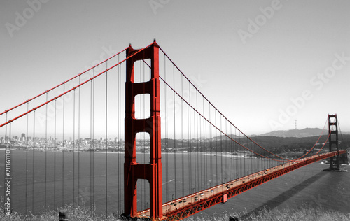 Foto op Canvas Rood, zwart, wit Golden Gate Bridge