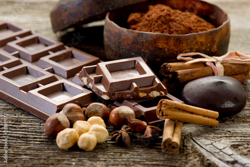 Fotografie, Obraz  chocolate with ingredients-cioccolato e ingredienti