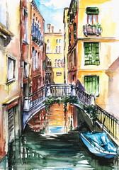 Panel Szklany Miasta Venice canal-watercolor .