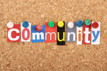 The Word Community In Magazine Letters On A Notice Board