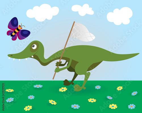 Deurstickers Dinosaurs Little dinosaur and butterfly
