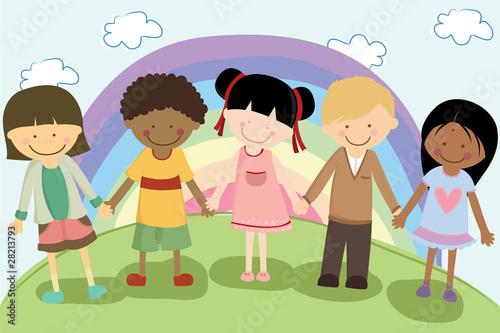 In de dag Regenboog Multi ethnic children
