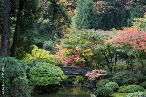 Foto op Canvas Zen Wooden bridge, Japanese Garden