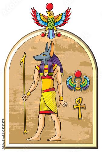 Foto op Plexiglas Feeën en elfen Stylized image of Anubis, the god of ancient Egypt, vector