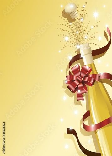 Photo Stands Draw Champagne con Fiocco-Champagne Bottle with Red Bow-2-Vector