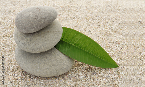 Photo sur Plexiglas Zen pierres a sable Galets de ricvière et feuille de frangipanier sur sable blanc