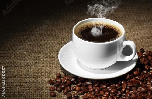 Deurstickers koffiebar Чёрный кофе зёрна