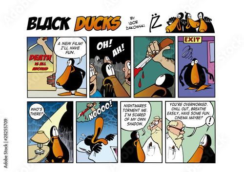 Spoed Fotobehang Comics Black Ducks Comic Strip episode 63