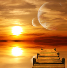 Fototapeta kosmiczny zachód słońca planety i mostek