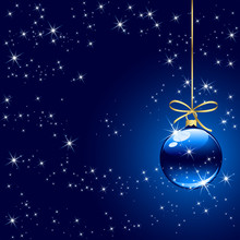 Winter Background With Blue Christmas Ball