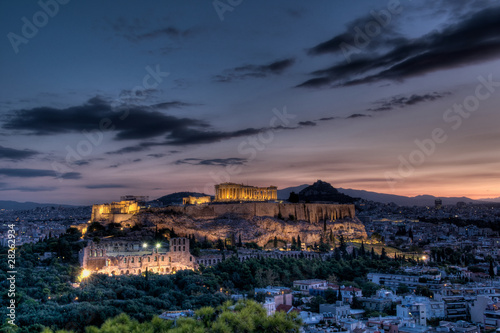 In de dag Athene Parthenon and Acropolis, Athens at sunrise