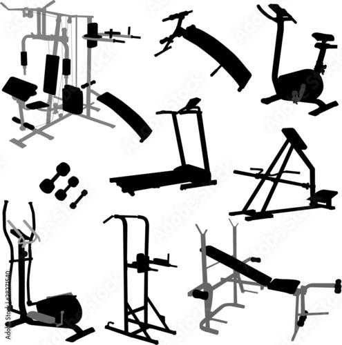Foto op Plexiglas Fitness gym equipment - vector