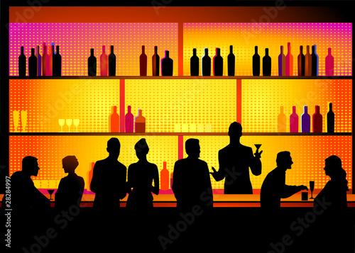 Fotografie, Obraz  Bar mit Barkeeper