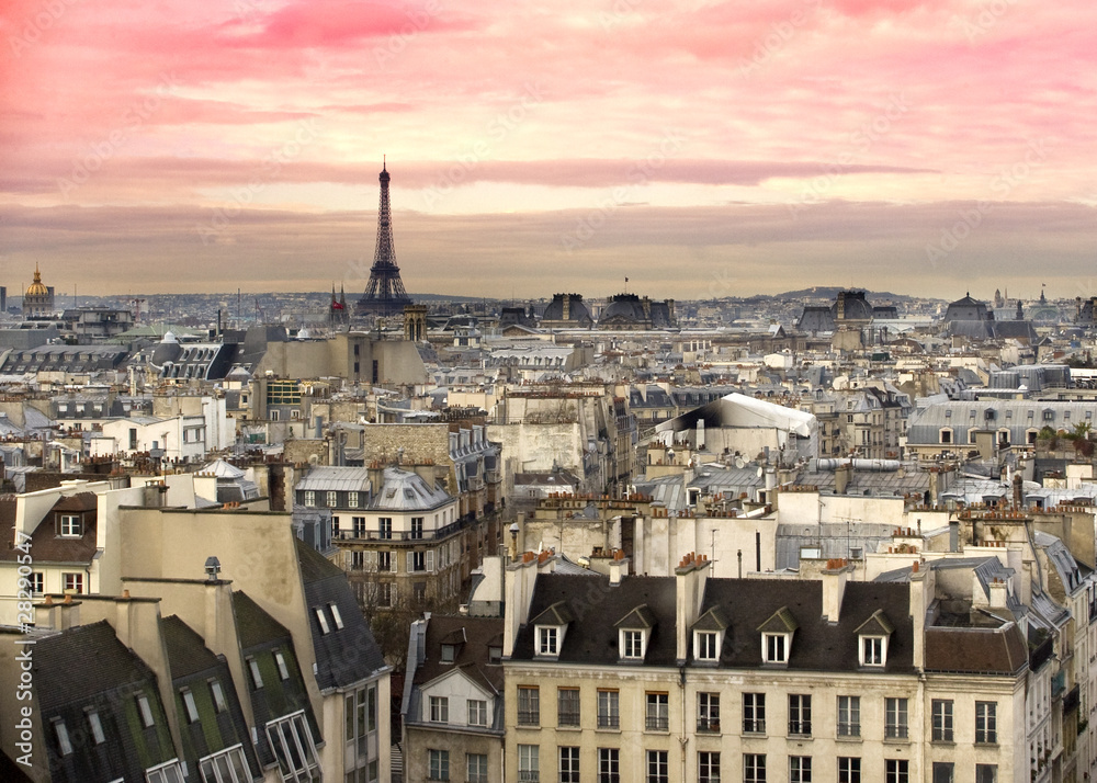 Foto Rollo Basic - Paris Aussicht Eiffelturm