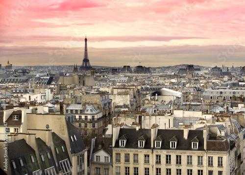 Foto-Leinwand - Paris Aussicht Eiffelturm