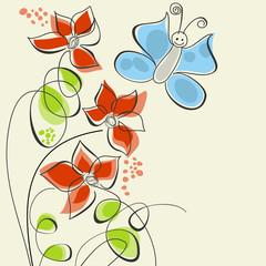 Fototapeta Motyle Cute flowers and butterfly