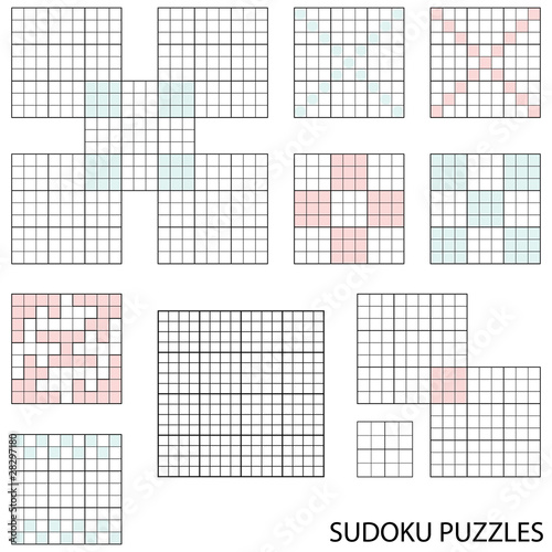 Collection Of Various Blank Sudoku Templates Buy This Stock Vector