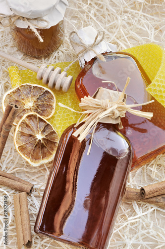 Homemade liqueur with spices – still life. Poster