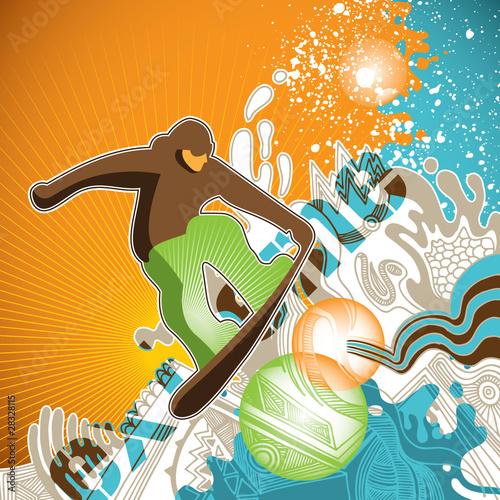progresywny-snowboardowy-sztandar-z-abstrakcjami