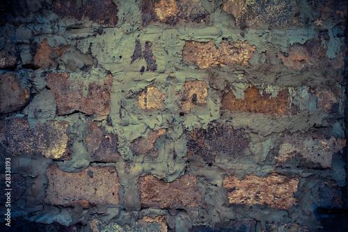 Foto auf AluDibond Alte schmutzig texturierte wand Brick wall