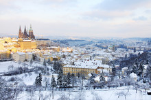 First Snow In Prague, Gothic Castle With Snowy Trees