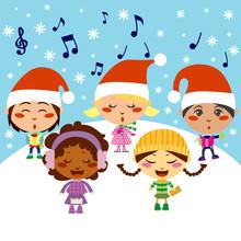 Five Kids Singing Christmas Carols While Snow Falls