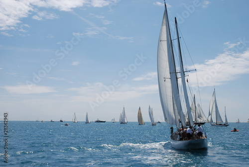 classic yacht sailboat sailing in regatta