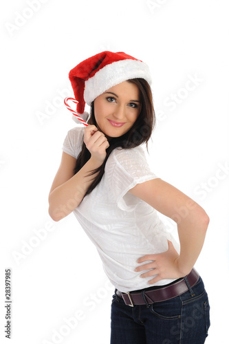 90d0bc5f7e337 Funny pretty casual santa claus woman with red christmas hat. is ...
