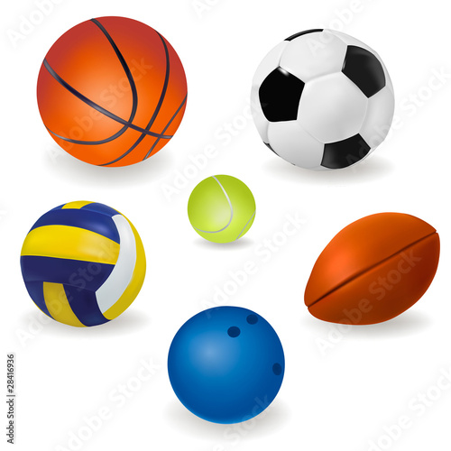 In de dag Bol Set of sport balls. Vector.